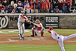 12 October 2012: The St. Louis Cardinals right fielder Carlos Beltran in action during Postseason Playoff Game 5 of the National League Divisional Series against the Washington Nationals at Nationals Park in Washington, DC. The Cardinals stunned the home team Nats with a four-run rally in the 9th inning to defeat the Nationals 9-7 and win the NLDS, moving on to the NL Championship Series. Mandatory Credit: Ed Wolfstein Photo