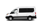 Car driver side profile view of a 2019 Ford Transit Wagon 150 XLT Wagon Med Roof Sliding Pass. 130 5 Door Passenger Van