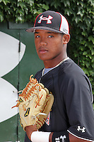 Addison Russell (18) during the 2010 Under Armour All-American Game powered by Baseball Factory at Wrigley Field in Chicago, New York;  August 13, 2010.  Photo By Mike Janes/Four Seam Images