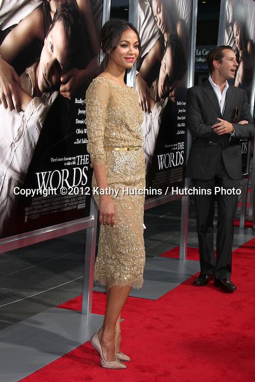 "LOS ANGELES - SEP 4:  Zoe Saldana arrives at ""The Words"" Premiere at ArcLight Cinemas on September 4, 2012 in Los Angeles, CA"