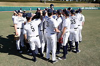 CARY, NC - FEBRUARY 23: Penn State University baseball players huddle during a game between Wagner and Penn State at Coleman Field at USA Baseball National Training Complex on February 23, 2020 in Cary, North Carolina.