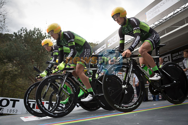 Dukla Banska Bystrica team power off the start ramp during the Men's Elite Team Time Trial of the 2018 UCI Road World Championships running 62.8km from Ötztal to Innsbruck, Innsbruck-Tirol, Austria 2018. 23rd September 2018.<br /> Picture: Innsbruck-Tirol 2018/Oliver Soulas | Cyclefile<br /> <br /> <br /> All photos usage must carry mandatory copyright credit (© Cyclefile | Innsbruck-Tirol 2018/Oliver Soulas)