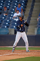 Tampa Tarpons Oswaldo Cabrera (3) at bat during a Florida State League game against the Daytona Tortugas on May 17, 2019 at George M. Steinbrenner Field in Tampa, Florida.  Daytona defeated Tampa 8-6.  (Mike Janes/Four Seam Images)