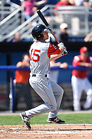 Lowell Spinners outfielder Mike Meyers (15) at bat during a game against the Batavia Muckdogs on July 17, 2014 at Dwyer Stadium in Batavia, New York.  Batavia defeated Lowell 4-3.  (Mike Janes/Four Seam Images)