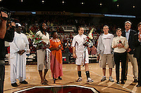 25 February 2006: Krista Rappahahn and Shelley Nweke during Stanford's 78-47 win over the Washington State Cougars at Maples Pavilion in Stanford, CA.