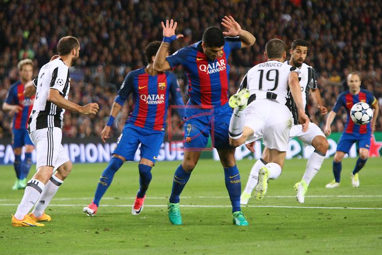UEFA Champions League 2016/2017.<br /> Quarter-finals 2nd leg.<br /> FC Barcelona vs Juventus Football Club: 0-0.<br /> Giorgio Chiellini, Luis Suarez &amp; Leonardo Bonucci.