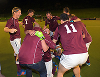 Hutt players celebrate winning the Wellington premier men's hockey final between Dalefield and Hutt at The National Hockey Stadium, Wellington, New Zealand on Saturday, 12 August 2017. Photo: Dave Lintott / lintottphoto.co.nz