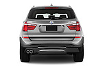 Straight rear view of 2017 BMW X3 sDrive28i 5 Door SUV Rear View  stock images