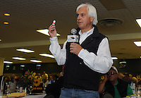 Bob Baffert relays the story about reaching for his nitroglycerin during the Kentucky Derby after seeing Bodemeister's early fraction while talking at the Alibi Breakfast at Pimlico Race Course in Baltimore, Maryland  on May 17, 2012