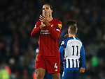 Virgil van Dijk of Liverpool applauds the fans during the Premier League match at Anfield, Liverpool. Picture date: 30th November 2019. Picture credit should read: Simon Bellis/Sportimage