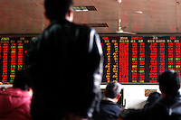 Stock index board at the stock market in Zhengzhou, China.