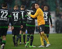 Fussball 1. Bundesliga :  Saison   2012/2013   9. Spieltag  27.10.2012 SpVgg Greuther Fuerth - SV Werder Bremen Sokratis Papastathopoulos, Aaron Hunt, Assani Lukimya, Torwart Sebastian Mielitz (v. li., SV Werder Bremen)