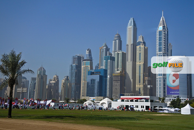 A view of the driving range with the city as a back drop during Round 3 of the Omega Dubai Desert Classic, Emirates Golf Club, Dubai,  United Arab Emirates. 26/01/2019<br /> Picture: Golffile | Thos Caffrey<br /> <br /> <br /> All photo usage must carry mandatory copyright credit (&copy; Golffile | Thos Caffrey)