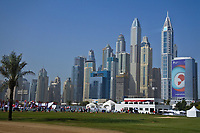 A view of the driving range with the city as a back drop during Round 3 of the Omega Dubai Desert Classic, Emirates Golf Club, Dubai,  United Arab Emirates. 26/01/2019<br /> Picture: Golffile | Thos Caffrey<br /> <br /> <br /> All photo usage must carry mandatory copyright credit (© Golffile | Thos Caffrey)