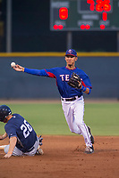 AZL Rangers shortstop Obie Ricumstrict (66) attempts a double play during a game against the AZL Padres 2 on August 2, 2017 at the Texas Rangers Spring Training Complex in Surprise, Arizona. Padres 2 defeated the Rangers 6-3. (Zachary Lucy/Four Seam Images)