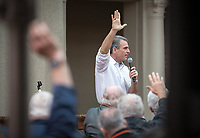 Jeffrey B. Goldstein '86<br /> Occidental College alumni, staff and other members of the Oxy community gather in support of the football program, March 10, 2018 on Branca Patio.<br /> In January 2018 a 16-member task force of trustees, faculty, students, staff and alumni met to determine the fate of the football program in the wake of the premature end of the 2017 season. The College is moving full speed ahead with preparations for the 2018 season, led by the Football Action Team.<br /> (Photo by Marc Campos, Occidental College Photographer)