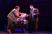 "Musical comedy Betty Blue Eyes, based on the feature film ""A Private Function"" showing at the Novello Theatre, London. Jack Edwards as ""Henry Allardyce"" and Reece Shearsmith as ""Gilbert Chilvers"" (from left) with animatronic pig."