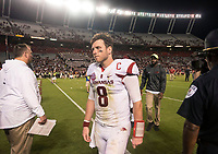 Hawgs Illustrated/BEN GOFF <br /> Austin Allen, Arkansas quarterback, walks off after Arkansas's loss to South Carolina Saturday, Oct. 7, 2017, at Williams-Brice Stadium in Columbia, S.C.