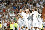 Real Madrid's Mesut Ozil, Cristiano Ronaldo, Karim Benzema, Marcelo Vieira, Angel Di Maria, Sergio Ramos and Pepe celebrates goal during Spanish Supercup 1st match.August 14,2011. (ALTERPHOTOS/Acero)