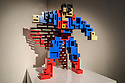 THE ART OF THE BRICK: DC SUPER HEROES - Artist Nathan Sawaya returns to London with the world's largest LEGO exhibition, inspired by Batman, Superman, and Wonder Woman. The exhibition opens, in a purpose-built marquee in Doon Street car park, Upper Ground, on the South Bank. Picture shows: Superman Cubed