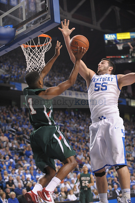 UK's Josh Harrellson blocks the ball during the first half of the University of Kentucky Men's basketball game against Mississippi Valley State at Rupp Arena in Lexington, Ky., on 12/18/10. Uk led at half 44-24. Photo by Mike Weaver | Staff