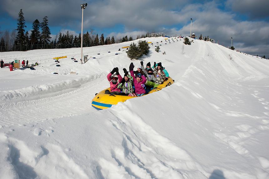 Tubing at Valcartier Winter Amusement Park near Quebec city, Canada