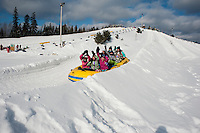 Tubing at Valcartier Winter Amusement Park near Quebec city, Canada
