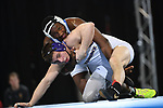 BIRMINGHAM, AL - MARCH 11:  Isaiah White of Notre Dame College takes on Brock Wingbermuehle of McKendree in the 165 lb weight class during the Division II Men's Wrestling Championship held at the Birmingham CrossPlex on March 11, 2017 in Birmingham, Alabama. (Photo by Jamie Schwaberow/NCAA Photos via Getty Images)