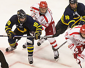 Michael Babcock (Merrimack - 19), Matt Lane (BU - 21), Chris LeBlanc (Merrimack - 16) - The Boston University Terriers defeated the visiting Merrimack College Warriors 4-0 (EN) on Friday, January 29, 2016, at Agganis Arena in Boston, Massachusetts.