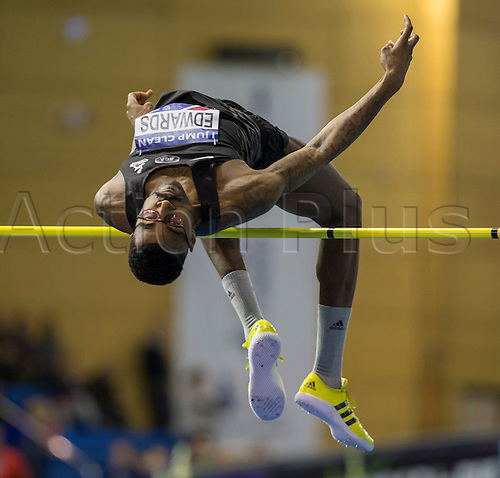 28.02.2016. EIS Sheffield, Sheffield, England. British Indoor Athletics Championships Day Two. Mike Edwards (Birchfield A) during the High Jump Final.