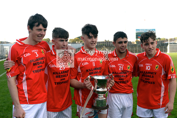 23-10-2016: Spa members, Eoghan Cronin, Niall McCarthy, David Spillane, Dion Marcos and Dara Moynihan celebrate with their team East Kerry defeated Mid Kerry in the Keane's Supervalu Kerry Minor Football Final at Fitzgerald Stadium, Killarney on Sunday.<br /> Photo: Don MacMonagle