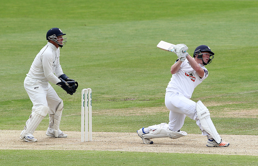 Hampshire's Tom Alsop skies a ball from Warwickshire's Josh Poysden to loose his wicket as keeper Tim Ambrose looks on<br /> <br /> Photographer Mick Walker/CameraSport<br /> <br /> County Cricket - County Championship Division One - Warwickshire v Hampshire - Sunday 10th July 2016 - Edgbaston - Birmingham<br /> <br /> &copy; CameraSport - 43 Linden Ave. Countesthorpe. Leicester. England. LE8 5PG - Tel: +44 (0) 116 277 4147 - admin@camerasport.com - www.camerasport.com