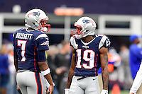 Sunday, October 2, 2016: New England Patriots quarterback Jacoby Brissett (7) and wide receiver Malcolm Mitchell (19) talk before the NFL game between the Buffalo Bills and the New England Patriots held at Gillette Stadium in Foxborough Massachusetts. Buffalo defeats New England 16-0. Eric Canha/Cal Sport Media