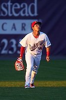 Auburn Doubledays left fielder Oliver Ortiz (18) gets under a fly ball during a game against the Mahoning Valley Scrappers on July 19, 2016 at Falcon Park in Auburn, New York.  Mahoning Valley defeated Auburn 9-1.  (Mike Janes/Four Seam Images)