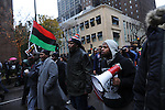 "Protesters take to Michigan Avenue, Chicago's ""Magnificent Mile"" and longest shopping street, to protest three days after the release of a dash cam video documenting the killing of Laquan McDonald by Chicago Police Officer Jason Van Dyke, who has been charged with his murder, on Black Friday, the busiest shopping day of the year, in Chicago, Illinois on November 27, 2015.  Van Dyke fired 16 shots at McDonald and fired 13 of those shots after McDonald was on the ground and only stopped after his colleague told him to stand down; a journalist for outlet DNA Info sued the City of Chicago for release of the dash cam video, which the city released only after ordered to do so by a judge last week."