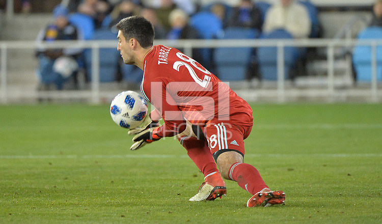 San Jose, CA - Saturday March 03, 2018: Andrew Tarbell during a 2018 Major League Soccer (MLS) match between the San Jose Earthquakes and Minnesota United FC at Avaya Stadium.