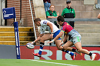 Darren Atkins of Bath Rugby scores a try. Premiership Rugby 7s (Day 2) on July 28, 2018 at Franklin's Gardens in Northampton, England. Photo by: Patrick Khachfe / Onside Images