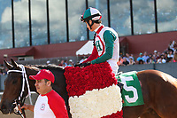 HOT SPRINGS, AR - April 15: Inside Straight #5 and jockey Giovanni Franco are walked after winning the Oaklawn Handicap at Oaklawn Park on April 15, 2017 in Hot Springs, AR. (Photo by Ciara Bowen/Eclipse Sportswire/Getty Images)