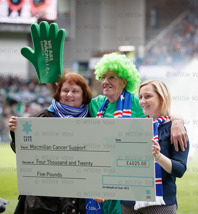 Macmillan fundraiser John Burkhill at Ibrox to collect a cheque for £4025 from Club 1872