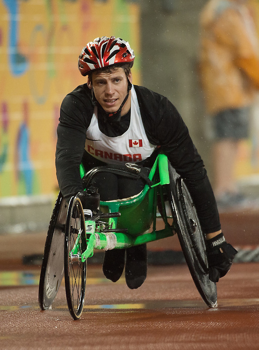 Toronto, ON - Aug 10 2015 - Ben Brown competes in the men's 100m T53 final in the CIBC Athletics Stadium during the Toronto 2015 Parapan American Games  (Photo: Matthew Murnaghan/Canadian Paralympic Committee)
