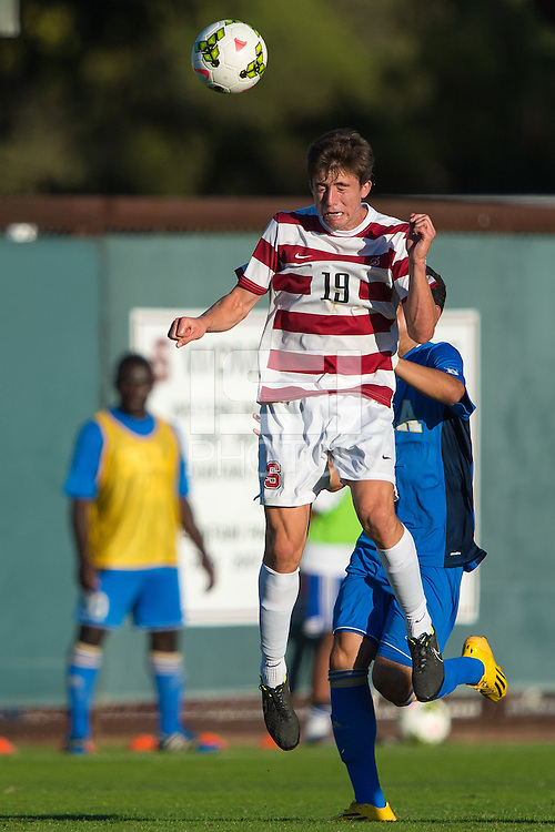 STANFORD, CA - October 12, 2014:  Bobby Edwards during the Stanford vs UCLA men's soccer match in Stanford, California.  The Cardinal tied the Bruins 1-1 after double overtime.