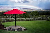 Umbrella and table in Alii Kula Lavender Farm, with rainbow. Maui, Hawaii