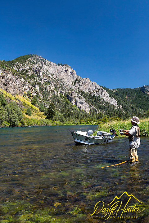 "Flyfisherman, John Rennell trying his luck on the Southfork of the Snake River near Swan Valley, Idaho.  The iconic ""hole in the wall"" towering above."