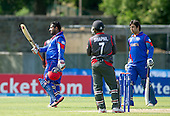 ICC World T20 Qualifier - GROUP B MATCH - AFGHANISTAN v UAE at Grange CC, Edinburgh - Afghanistan bat Mohammad Shazad signals his 50 — credit @ICC/Donald MacLeod - 10.07.15 - 07702 319 738 -clanmacleod@btinternet.com - www.donald-macleod.com