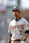 10 September 2006: Nook Logan, outfielder for the Washington Nationals, in action against the Colorado Rockies. The Rockies defeated the Nationals 13-9 at Coors Field in Denver, Colorado...Mandatory Photo Credit: Ed Wolfstein.