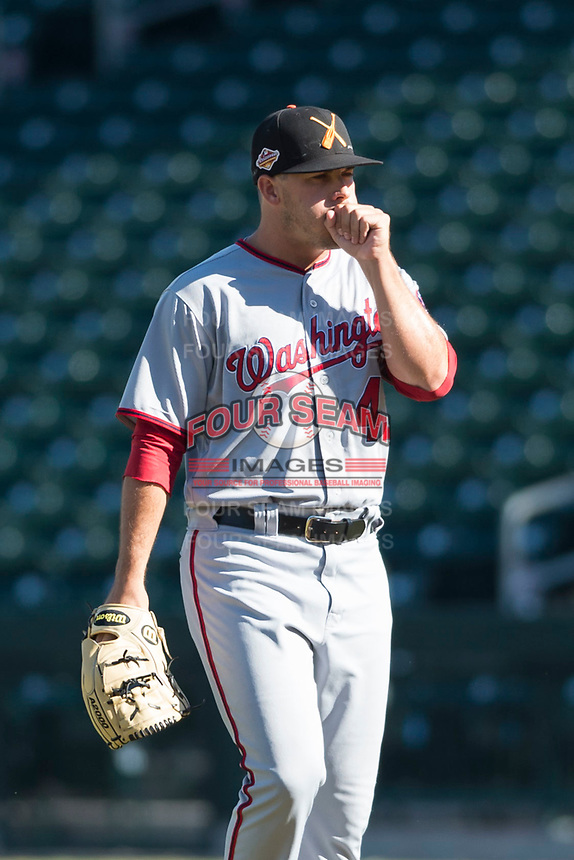 Salt River Rafters relief pitcher Ben Braymer (43), of the Washington Nationals organization, walks towards the mound during a pitching change in an Arizona Fall League game against the Mesa Solar Sox at Sloan Park on October 30, 2018 in Mesa, Arizona. Salt River defeated Mesa 14-4 . (Zachary Lucy/Four Seam Images)
