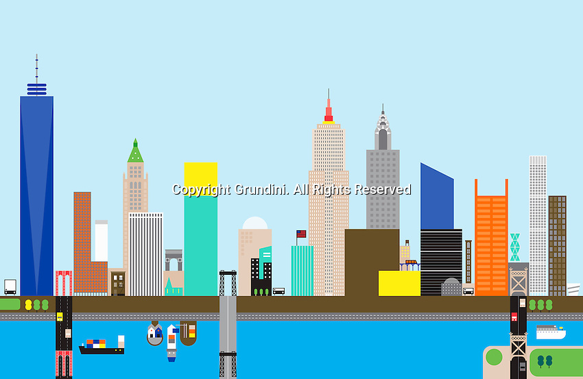 Abstract skyline of New York City  ExclusiveImage ExclusiveArtist ExclusiveArtist