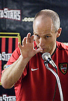 The MetroStars' coach Bob Bradley at the post game press conference discussing his 100th win as an MLS coach and breaking the 10 game winless streak against the Fire. The Chicago Fire were defeated by the NY/NJ MetroStars 2-1 at Giant's Stadium, East Rutherford, NJ, on July 24, 2004.