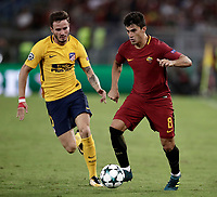 Football Soccer: UEFA Champions League AS Roma vs Atletico Madrid Stadio Olimpico Rome, Italy, September 12, 2017. <br /> Roma's Diego Perotti (r) in action with Atletico Madrid's Saul Niguez (l) during the Uefa Champions League football soccer match between AS Roma and Atletico Madrid at at Rome's Olympic stadium, September 12, 2017.<br /> UPDATE IMAGES PRESS/Isabella Bonotto