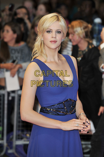 "GUEST.""One Day"" UK premiere, Vue Westfield cinema, Westfield Shopping Centre, London, England..August 23rd, 2011.half length black dress belt blue purple sleeveless .CAP/MAR.© Martin Harris/Capital Pictures."